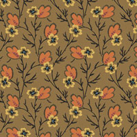 Provencale - Cream Flower w/Orang Leaf on Brown by International Quilt Stud