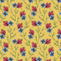 Provencale - Blue Flower w/Red Leaf on Yellow by International Quilt Study