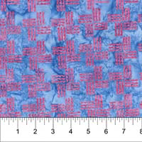 Kilts & Quilts Batiks - Kilheath castle - red geometric design on blue