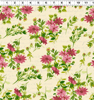 Clothworks - Fresh Picked - Dark Raspberry - Medium Tossed Daisy on Butter by Sue Zipkin