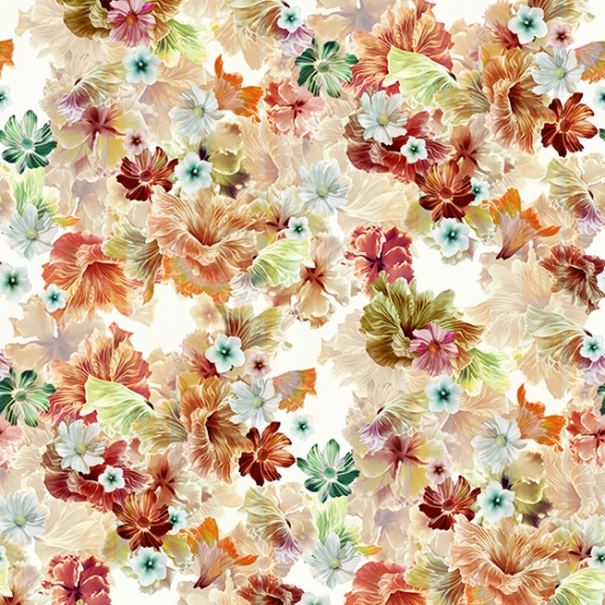 Garden State of Mind - Bluff,large all over floral in warm colors. Hoffman Challenge