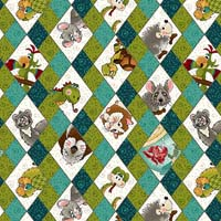 Rescued & Loved - Argyle, green & teal with animals