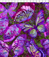 In The Beginning Fabrics - Dreamscapes II - Large Butterflies - Purple by Jason Yenter for In The Beginning Fabrics.