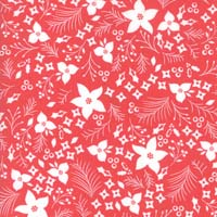 Moda - Holliberry - Scarlet Christmas flowers- white on red by Corey Yoder