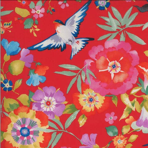Lulu - Flights of Fancy - Geranium - Lg brightly colored flowers with birds