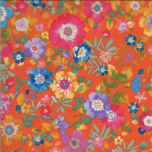 Lulu - Flower Garden - Clementine - brightly colored flowers and leaves on orange
