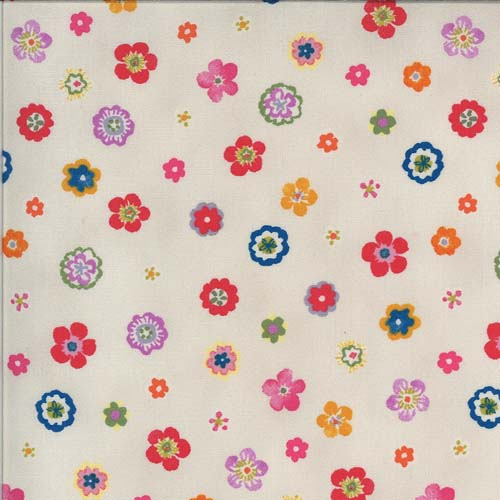 Lulu - Flowers - Linen - Tossed small brightly colored flowers on natural