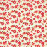 Little Ruby - Small Red Roses in a Swag Shape on White by Bonnie & Camille