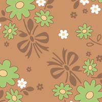 Calico Days - Calico Main - Nutmeg-Scattered Three Green Flowers Tied With
