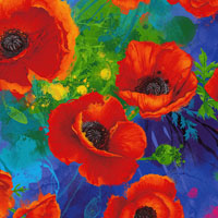 Timeless Treasures - I Dream of Poppy - Digital - All Over Poppies - Poppies on Royal by Chong-a Hwang