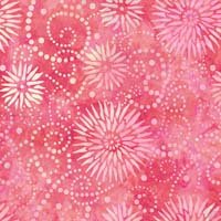 "Wilmington Prints - Essentials - 108"" Backing - Flower Burst - Watermelon Colored Stylized Flowers With Scrolling & Swirling Dots on Watermelon"