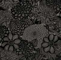 "Wilmington Prints - Essential - 108"" Backing - Floral Toile - Black - Packed Floral Tone on Tone"