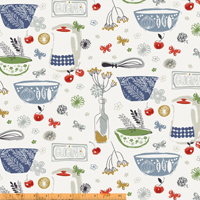 Cucina - Kitchen Items in Blue Grn Red Mustard & Grey on Wht by Victoria