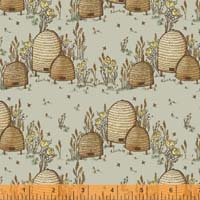 Windham Fabrics - Tell The Bees - Honeysuckle - Grey - Vining Honeysuckle on Grey by Hackney & Co.
