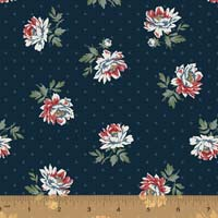 Windham - Camilla - Peonies on dot - Navy