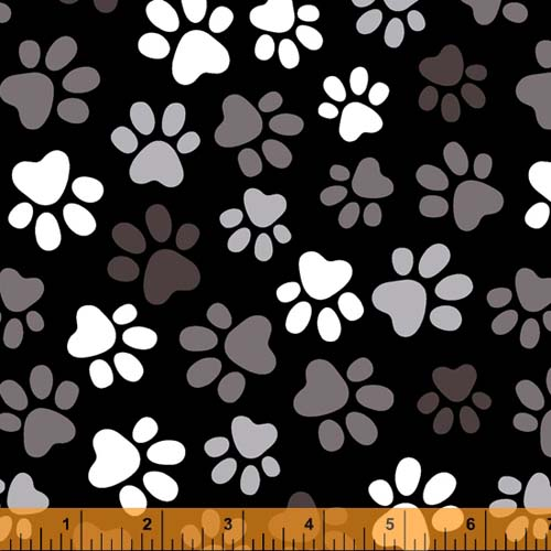 Windham - 108 Quilt Backing- Paws, white and gray paw prints on black