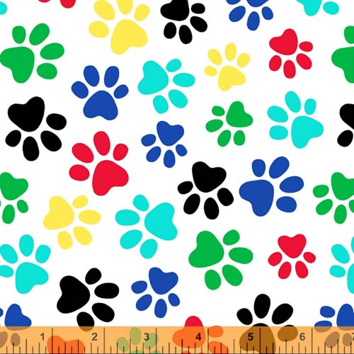 Windham - 108 Quilt Backing - Primary colored and black paw prints tossed on white