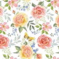 Garden Inspirations - Tossed large multicolored roses on white by Jane Alison