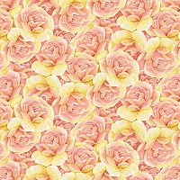 Garden Inspirations - Packed roses, rose. Yellow roses with pink by Jane Alison
