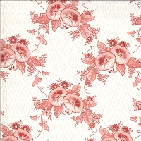 Moda - Roselyn - Morning Glory - Cream - pink flowers on wallpaper patterned cream by Minick and Simpson.