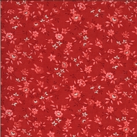 Moda - Roselyn - Flower Vine - Cranberry - pink flowers and leafy vines on red by Minick and Simpson.