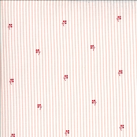 Moda - Roselyn - Stripe - Rose - narrow pink stripes with scattered sprigs by Minick and Simpson.