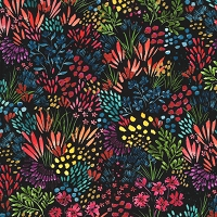 Moody Bloom - Meadow, multi bright floral on black by Create Joy Project