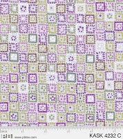 Kashmere Kaleidoscope - square patterns in greens & purple