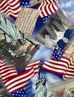 Land of the Free - We the People – collage of packed USA monuments.