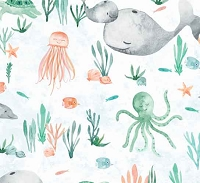 Whaley Loved - Sea Critters  -White