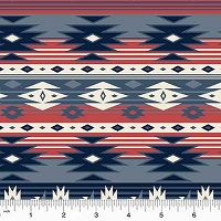 Windham - Spirit Trail - Rudy - Blue Southwest Design in cream, red and blues
