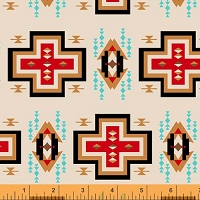 Windham - Spirit Trail - Cruz - Ivory -Southwest motif in red, tans, & turquoise on ivory