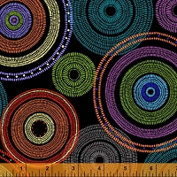 Windham - 108 Quilt Backing- Medallion - Black - brightly colored circles on black background.