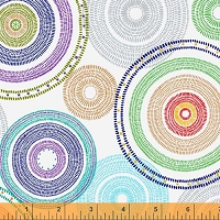 Windham - 108 Quilt Backing- Medallion - Black - brightly colored circles on white background.