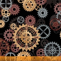 Windham - 108 Quilt Backing- Steampunk - Black -  brown, gold & gray gears on black background.