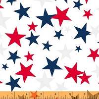 Windham - 108 Quilt Backing- Patriotic Star - White – Red, blue & light gray stars on white