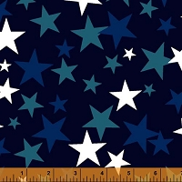 Windham - 108 Quilt Backing- Patriotic Star - Navy – dark & light blue & white stars on navy